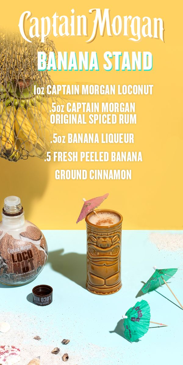 This summer, go bananas with a Captain Morgan LocoNut cocktail recipe perfect for poolside. Combine 1 oz Captain Morgan LocoNut, 0.5 oz Captain Morgan Original Spiced Rum, 0.5 oz banana liqueur, and 0.5 freshly peeled banana into a blender. Add ice to above the liquid and blend until smooth. Serve in a tall glass, garnish with cinnamon, and remember–there's always Captain Morgan in the Banana Stand.