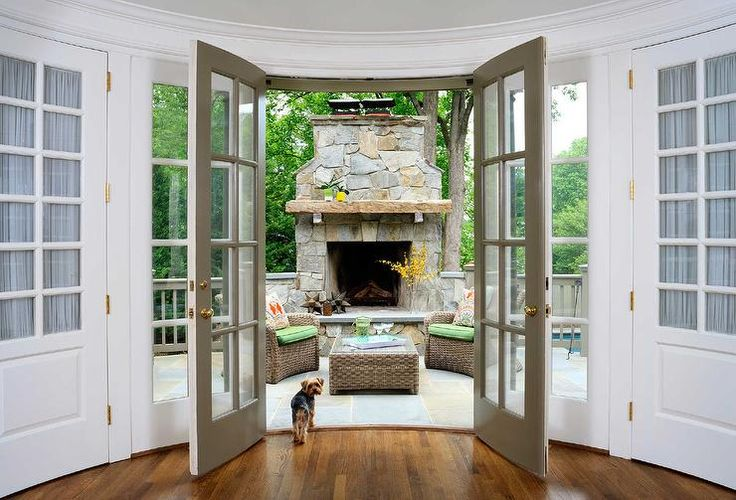 Patio with Stone Fireplace and Hearth
