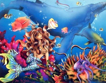 Absolutely Fabulous! This Charming Mermaid & whale fantasy ocean underwater art print poster will bring a feel of tropical paradise into your home. You'll surely enjoy viewing this poster. This poster goes well with kid's room. This beautiful poster is made of using high quality papers with a perfect color accuracy which guarantees that your posters last a lifetime without fading.