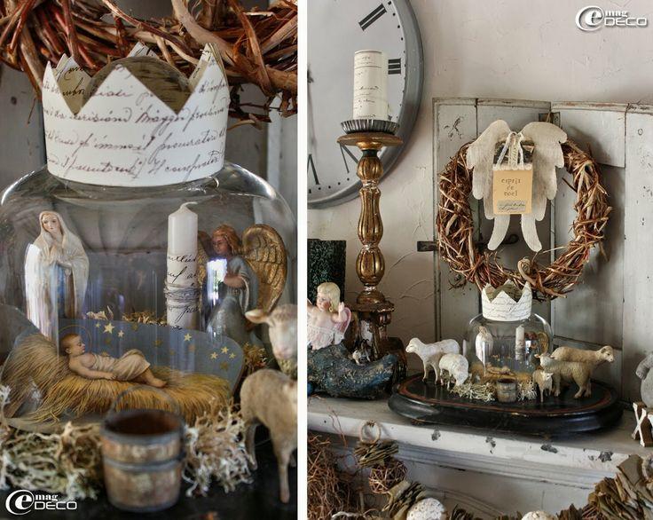 Crèche de Noël mise en scène sous une cloche en verre