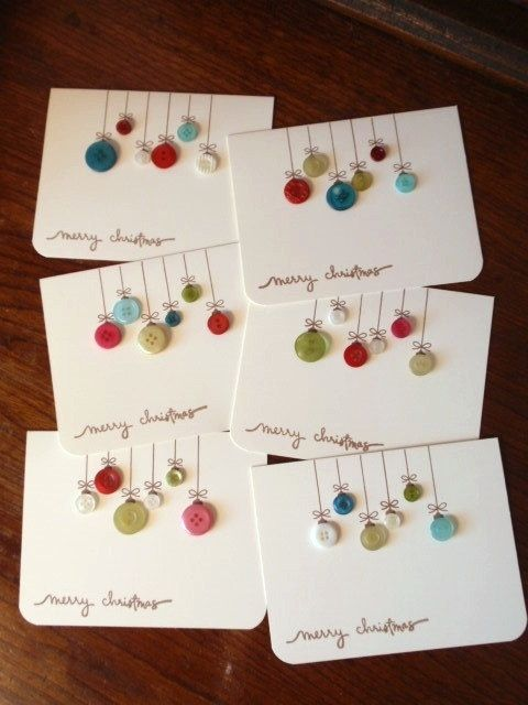 Homemade Christmas cards - a great idea for all my loose buttons! would be cute…