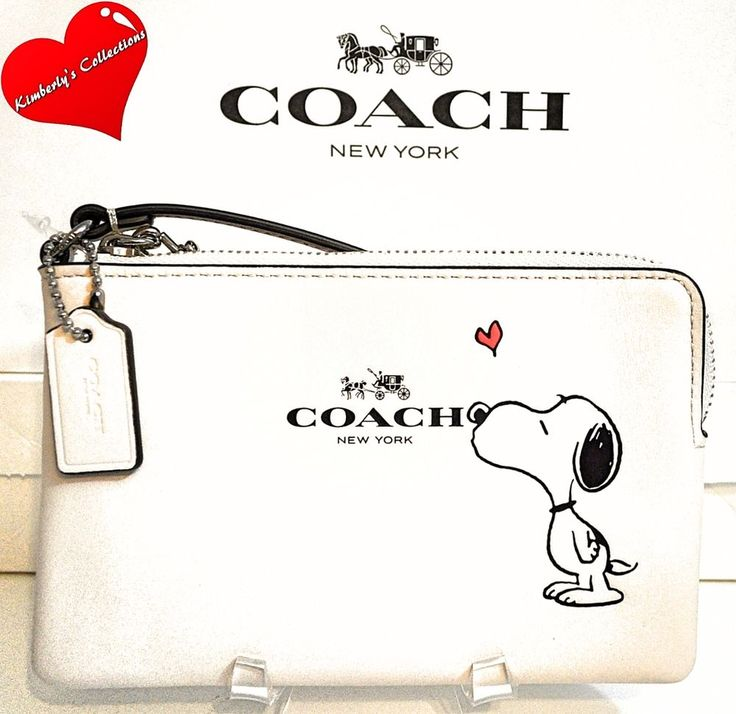 COACH X Peanuts SNOOPY Ltd. Ed White Calf Leather Wristlet Clutch Wallet NWT #Coach #Snoopy #Peanuts #Handbags