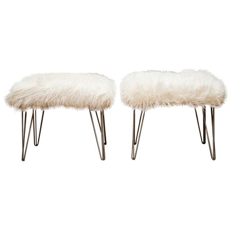 Pair of Mid-Century Style Ottomans with Faux Wool | From a unique collection of antique and modern ottomans and poufs at https://www.1stdibs.com/furniture/seating/ottomans-poufs/