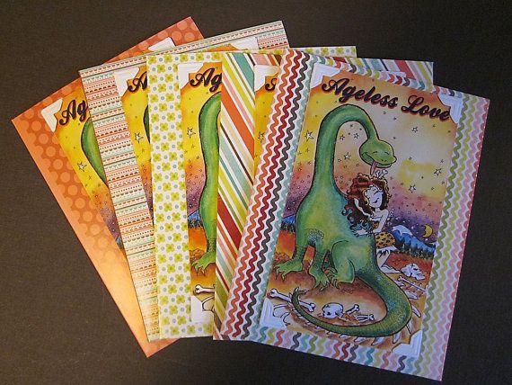 Dinosaur Love Cute 1950s Rainbow Color Fun Card