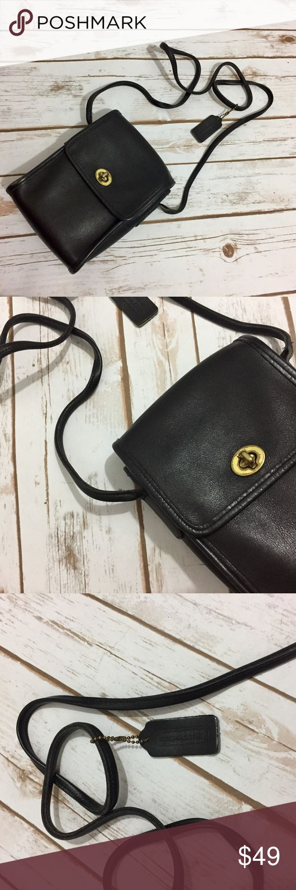 Vintage Coach Legacy Small Black Crossbody Bag. Gorgeous Vintage Coach Legacy Black Small Micro Leather Bag. Perfect as an everyday bag or would be a lovely camera bag. This will pair well with any outfit! In great vintage condition, aside from minor knick on back of bag and tag splitting. Coach Bags Crossbody Bags