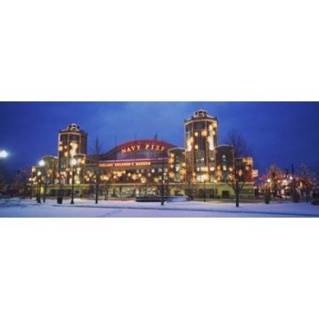 Facade Of A Building Lit Up At Dusk Navy Pier Chicago Illinois USA Canvas Art - Panoramic Images (36 x 13)