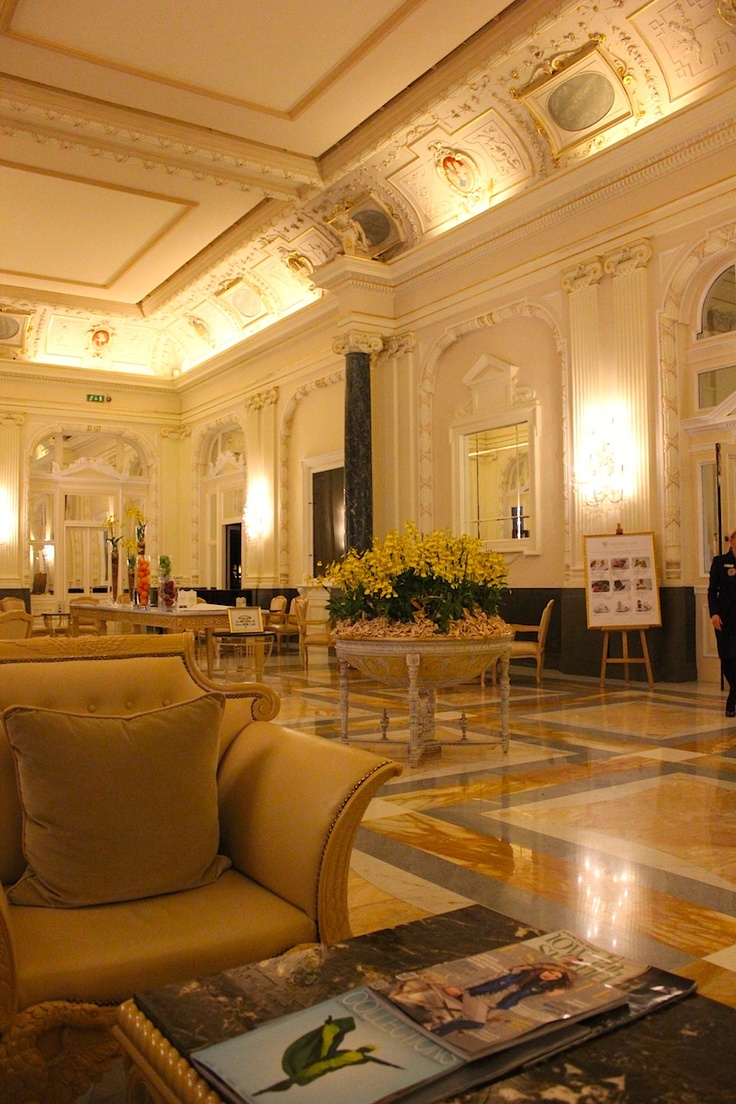 March 17, 2013. The Grand Lobby of the Boscolo Carlo IV Hotel in Prague is an impressive spot in the city's Old Town.