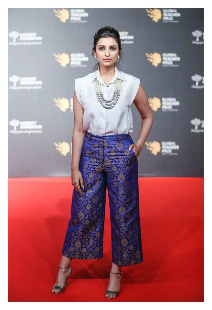 Parineeti Chopra in a payalkhandwala Silk Shirt and Limited Edition Brocade Culotte.