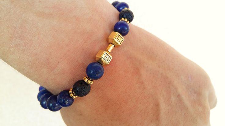 POLODRAHOKAMOVÉ náramky | FIT náramok láva-lazurit gold | štýlové náramky na každú ruku