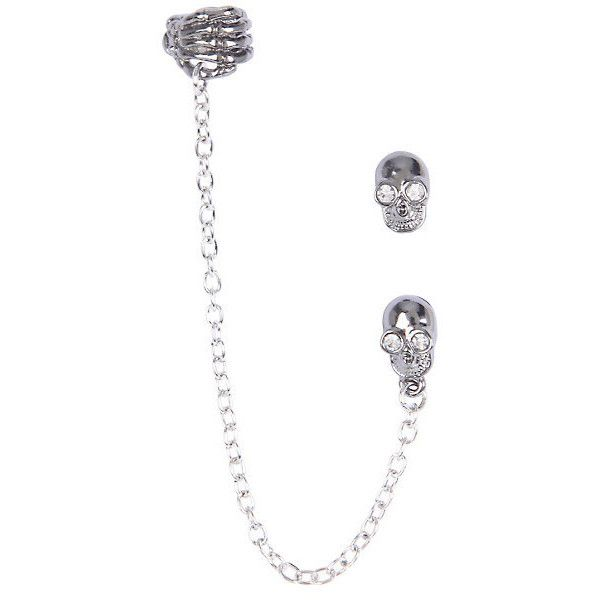 Skull Hand Cuff Earrings Hot Topic ($5.20) ❤ liked on Polyvore featuring jewelry, earrings, skeleton earrings, skeleton jewelry, clear crystal earrings, cuff stud earrings and handcuff jewelry