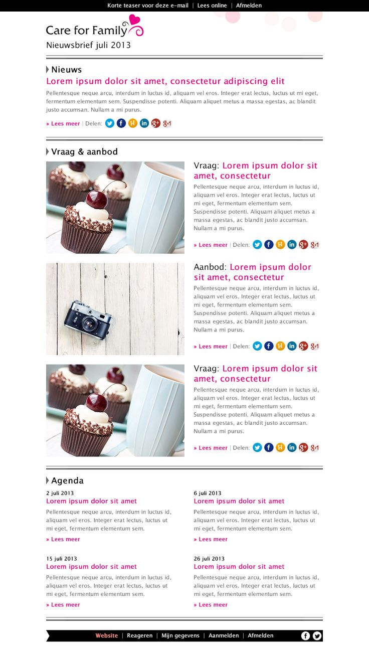 E-mail template ontwerp - Care for family
