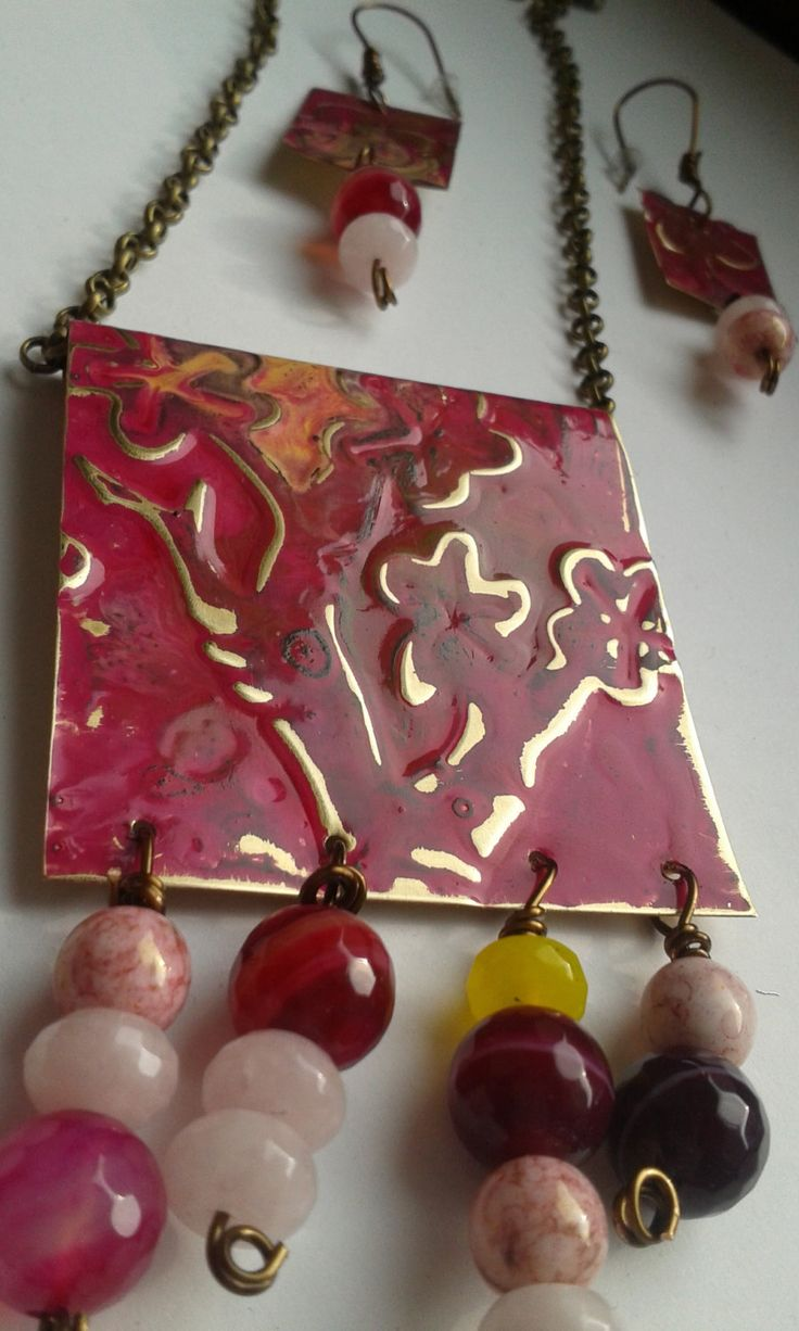Collana e orecchini in ottone inciso e patinato di LartedelriciclodiAli su Etsy