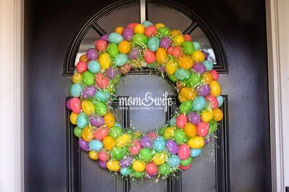 DIY Easter Egg Wreath - I don't think the Easter grass would be safe for birds, though.