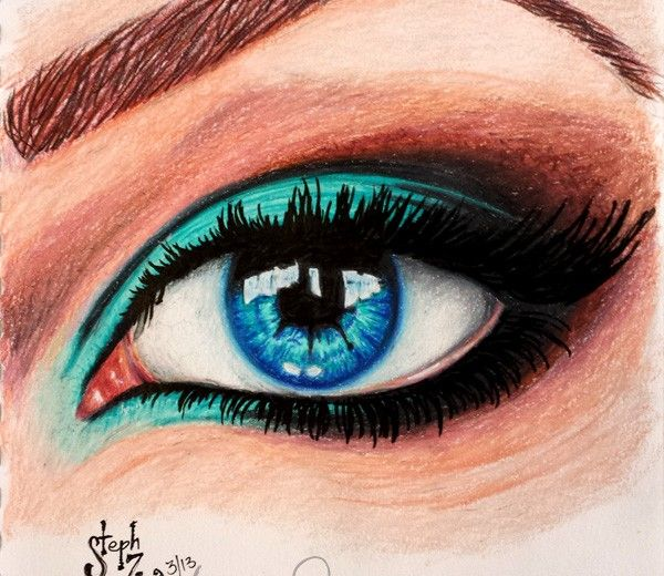 prismacolor pencil drawing of an eye. artist steph z.