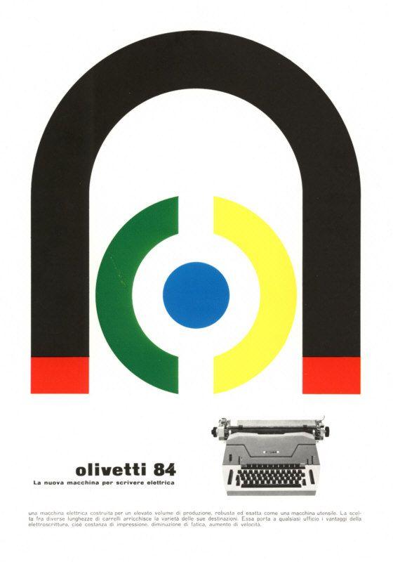Pubblicità disegnata da Giovanni Pintori, graphic designer, per la macchina per scrivere elettrica Olivetti 84 pubblicata su riviste e giornali italiani nel 1961.