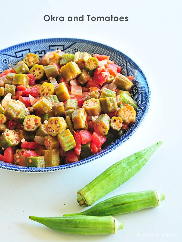 Okra and Tomatoes make a delicious and nutritious side dish!