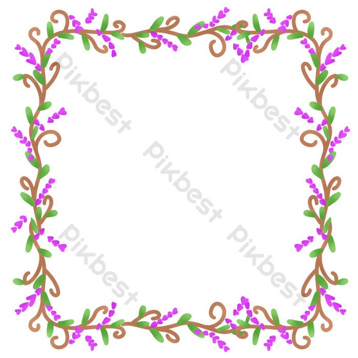 Karangan Bunga Bunga Ungu Elemen Grafik Psd Percuma Muat Turun Pikbest Purple Floral Floral Floral Wreath