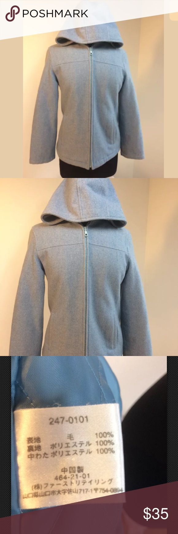 """Uniqlo Coat Blue M wool duffle jacket hooded Mint condition. 19"""" across the chest. 23.5"""" long from shoulder to hem.  Outer fabric 100% wool, lining 100% poly, inner fill 100 % poly Inside has quilted lining, including in the Sleeves. Outer Material is thick and warm. Uniqlo Jackets & Coats"""