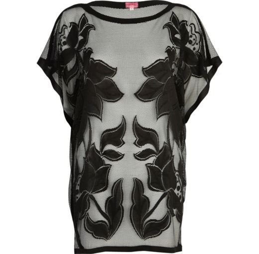 I'm shopping Black floral mesh tunic in the River Island iPhone app.