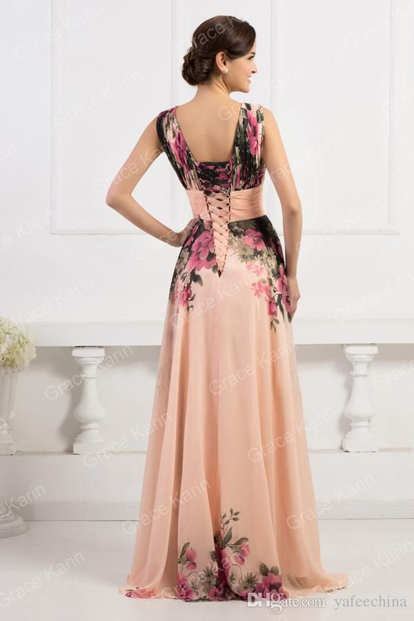 Grace Karin Floral Chiffon Dress Long Short Bridesmaid Dress Wedding Evening Dress Semi Formal NEW CL7502