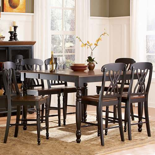 ETHAN Conversant with Mackenzie 7 Piece Antique Black Dining Table