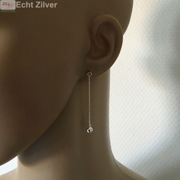 Zilveren mini david ster oorstekers met bal ketting - ZilverVoorJou Echt 925 zilveren sieraden