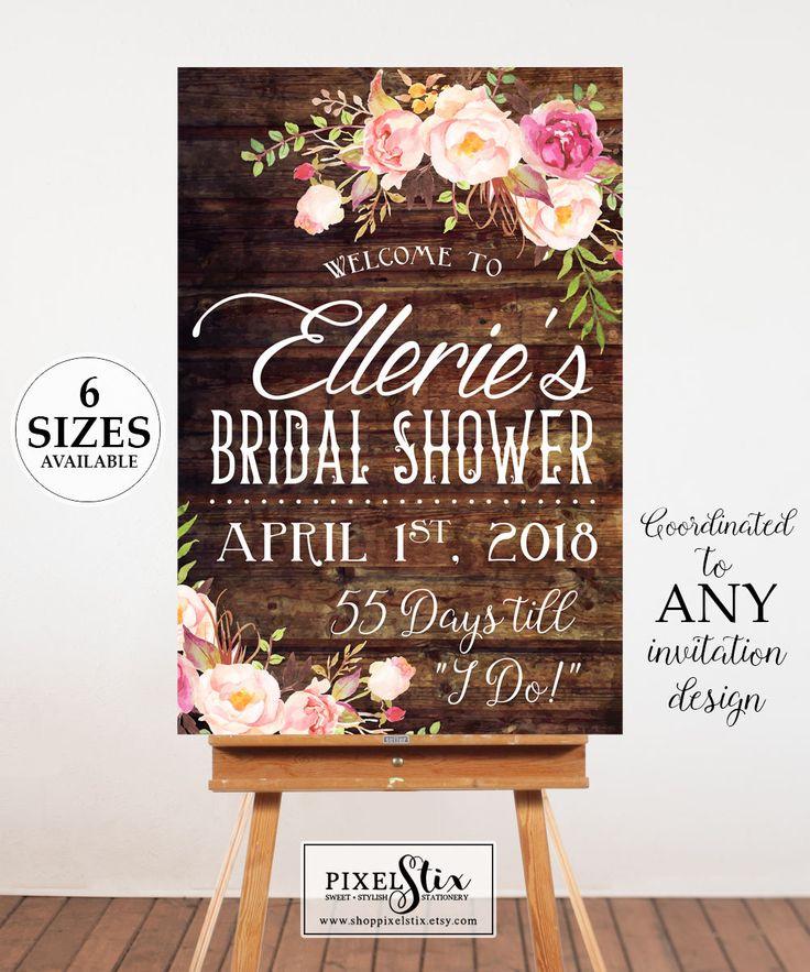 Bridal Shower Welcome Poster, Bridal Shower Sign, Bridal Shower Poster, Welcome Sign,  Digital Door Sign, Printable Bridal Shower Decor by shopPIXELSTIX on Etsy