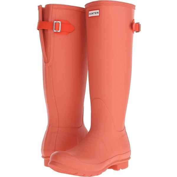 Hunter Original Back Adjustable (Sunset/Tent Red) Women's Rain Boots ($96) ❤ liked on Polyvore featuring shoes, boots, orange, wellies boots, red rain boots, red shoes, red platform boots and slip on boots