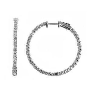4.00 Carat (ctw) 14k Gold Round Diamond 35 mm Hoop Earrings with Hinge and Notched Post