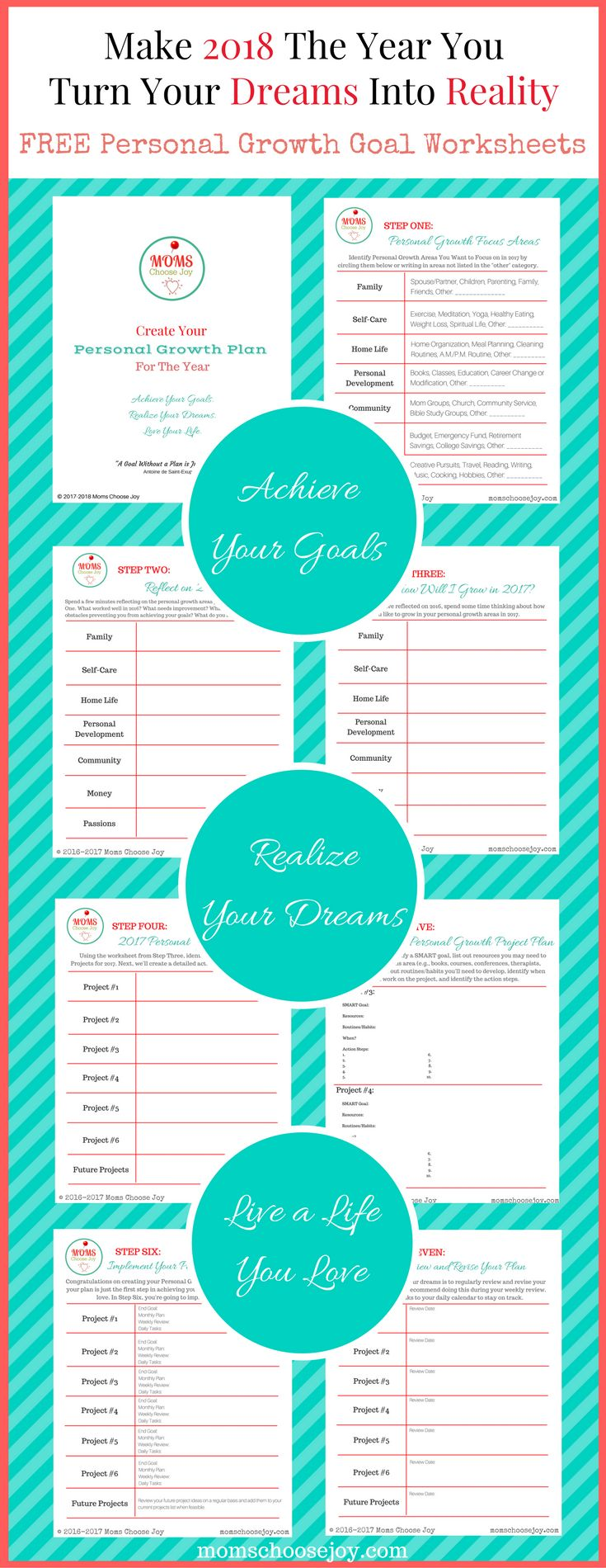 Set goals for 2018 for what matters most with this free 7-Step Personal Growth Goal Setting Worksheet printable designed with busy women in mind. It will show you how to make 2018 the year you achieve your goals, turn your dreams into reality, and live a life you love!