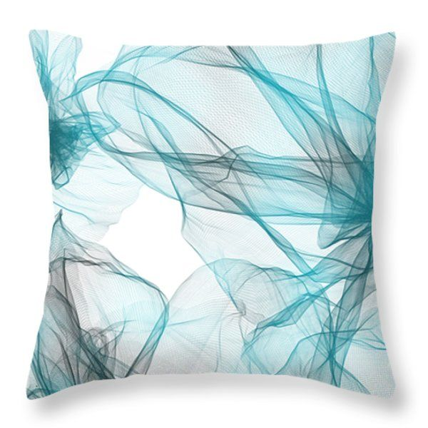 Teal And Cream Abstract Throw Pillows - Turquoise Spring Flowers Throw Pillow by Lourry Legarde ...