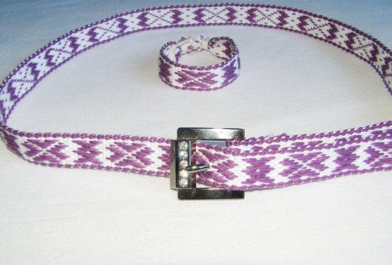 Violet set of Handmade Woven Belt and Woven от WovenSlavicBelts