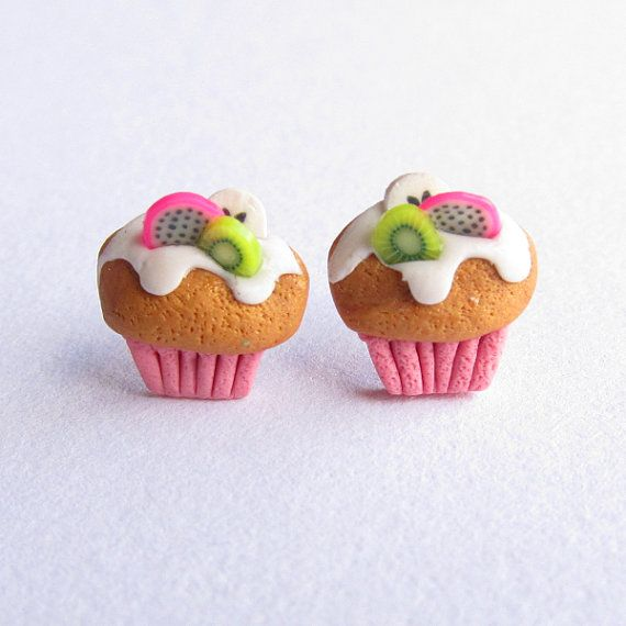 Cupcake Earrings Cookie Earrings Stud Earrings Fruit by omifimo