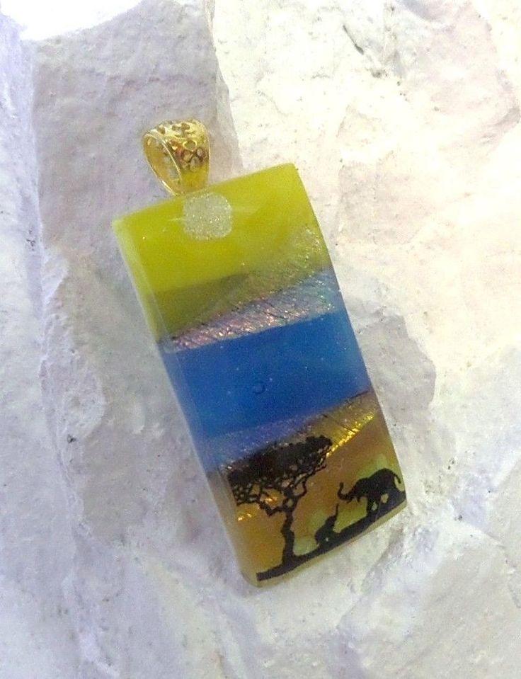 Dichroic Fused Glass Pendant Scenic Elephant US Artisan Lolas Glass Pendants #LolasGlassPendants #PendantforNecklace