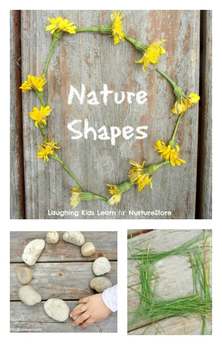 Nature shapes outdoor math activities - finding shapes in nature, perfect Spring learning activity