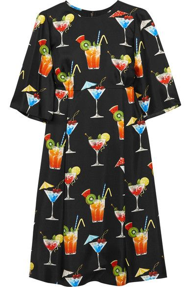 Dolce & Gabbana - Printed Silk-twill Dress - Black - IT44