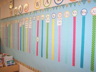 Tales-of-a-First-Grade-Teacher: Classroom Design and Linky Party. She used the Dots on Turquoise pennants border and Stripes & Stitches Border in her classroom.