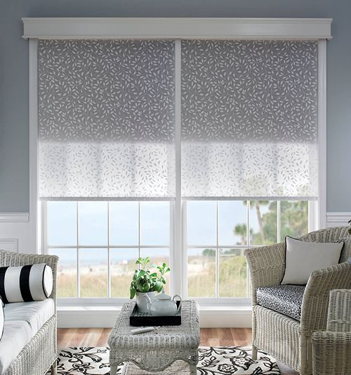 Bali® Noble Wood Cornice Shown in Snowflake with Bali® Roller Shades #BGPickMe