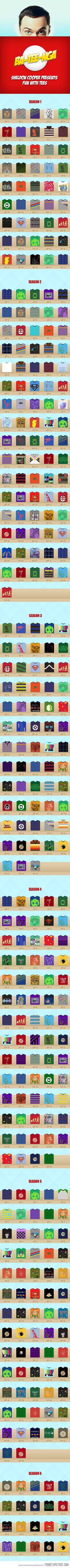 All the t-shirts worn by Sheldon in every single episode…