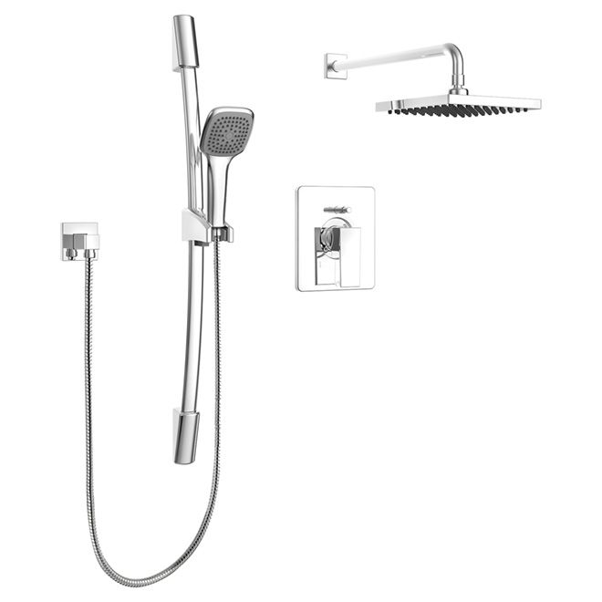 Essential Style Hand Shower Rail Kit With Pb Diverter Quadrato