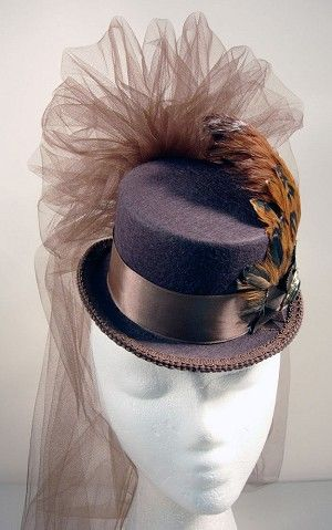 Brown-on-Brown Ladies Petite Victorian Steampunk Top Hat