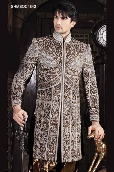 Cut Work And Embellished Bronze Shade Sherwani