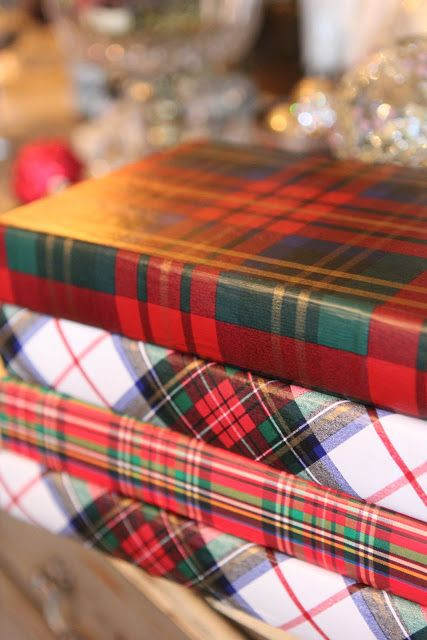 Plaids make everything so warm and inviting . . . . Romancing the Home. . . . Tartan Book Covers