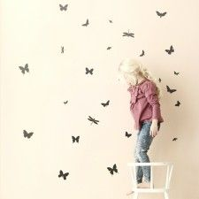 Mini Butterflies Wall Stickers, Black