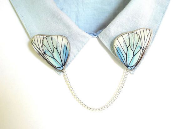 butterfly sweater clip, collar pin, collar chain