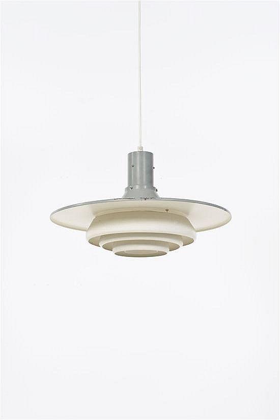 Alvar Aalto; #A337 Enameled Metal Prototype Ceiling Light, c1951.