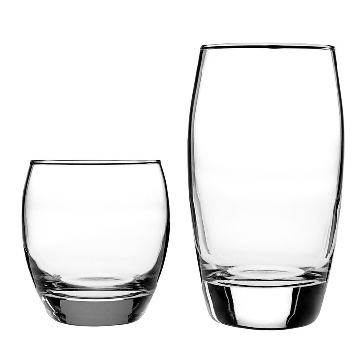 Features:  -Set includes 8 rock glasses and 8 tumblers.  -Made in the USA.  Country of Manufacture: -United States.  Product Type: -Drinkware set.  Capacity: -16 Fluid Ounces.  Color: -Clear.  Dishwas