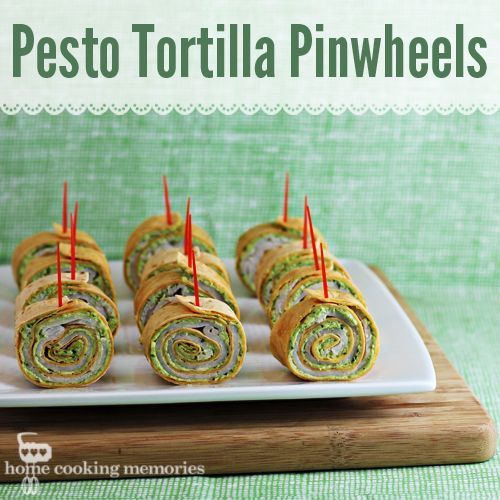 """Party Food: Pesto Tortilla Pinwheels Ingredients 8 ounces cream cheese, softened 1/2 cup pesto 2/3 cup shredded Parmesan cheese 3 large flour tortillas (12"""") 1 pound thinly sliced turkey or ham deli meat"""