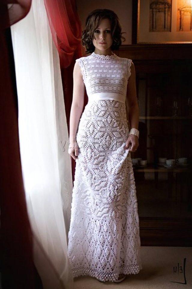 Свадебные вязаные платья крючком фото