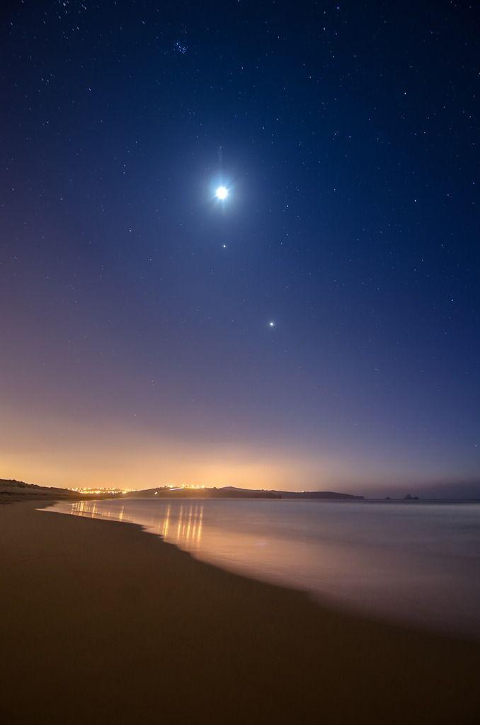 Moon, Jupiter and Venus, Negril, Jamaica on Vaca 2015